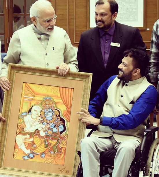 Prajith-Jaypal-Pinting-gifted-to-Narendra-Modi-PM-India